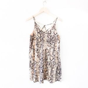 taupe and navy snake print camisole slip dress